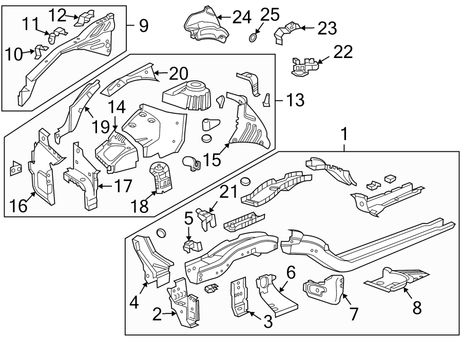 2014 chevrolet support  reinforcement   front  lower   left  rail  assembly