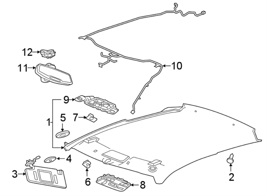 Chevrolet Camaro Headliner Wiring Harness  Coupe  W