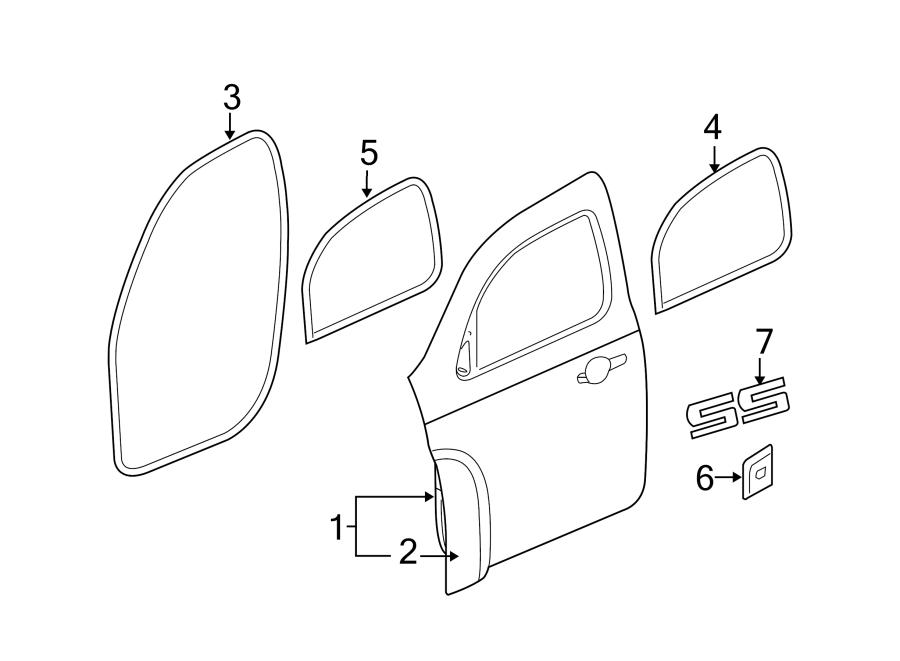 Chevrolet Hhr Door Seal  Front  Upper  Lower   Left  Body