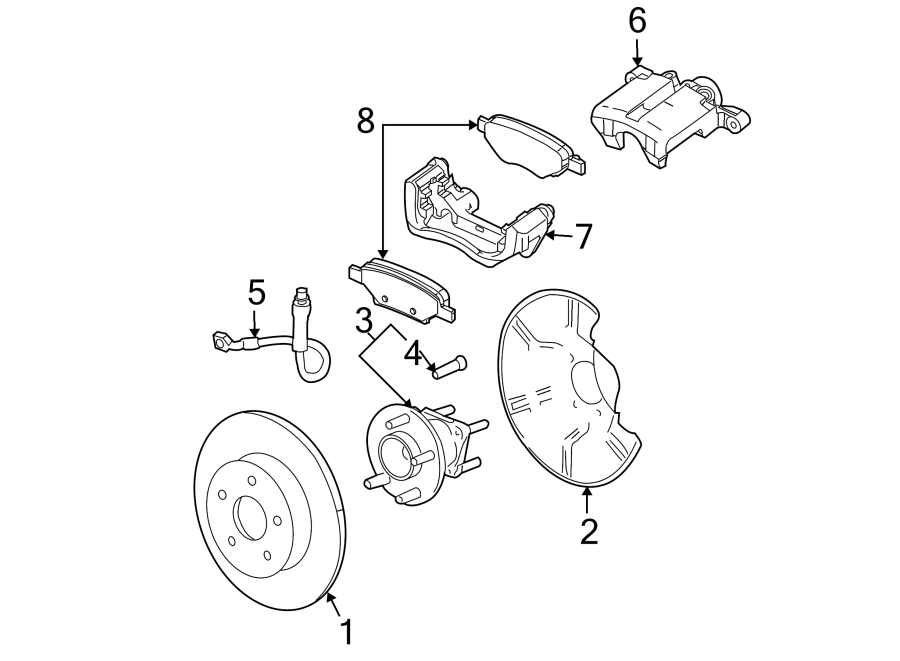 2008 Pontiac Brake Hydraulic Hose  Rear   Brakes  Disc