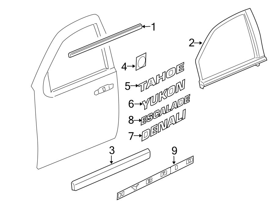 Cadillac Escalade Door Reveal Molding  Front  Upper