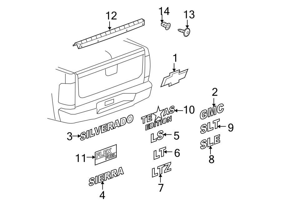 15129651 - Chevrolet Tailgate Emblem. BOX, BOWTIE, Rear ...