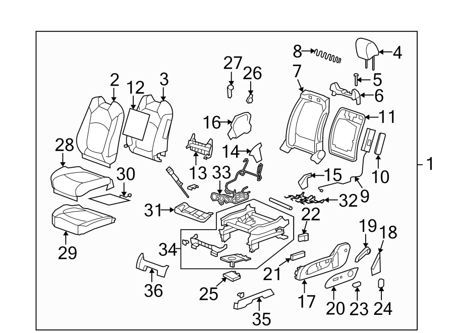 Saturn Outlook Seat Wire  Power  Front  Left